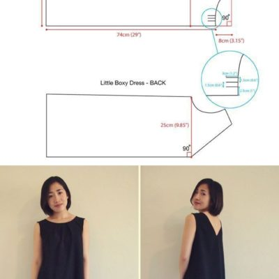 Free sewing pattern – reversible shift dress. The dress can be worn 2 ways: pleated crewneck or v-neck!
