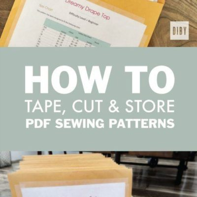 Learn How To Tape, Cut and Organize Your PDF Sewing Pattern for Easy Storage and Access. All a Part of The Beginner's Guide to Sewing Knit