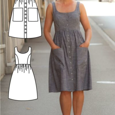 Stylish and Sophisticated Button down dress pattern, Midi dress pattern by Gina Renee Designs. What a lovely dress sewing pattern!
