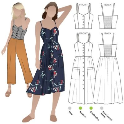 Ariana Woven Dress Sewing Pattern By Style Arc – Pretty sun dress with a fitted shaped bodice and full skirt.