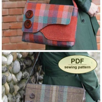 A smart and stylish messenger bag style purse sewing pattern. Can be sewn with a wide variety of fabrics. Small messenger bag sewing