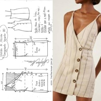 Womens halter neck bralet style cropped top with tie back fastening pdf printable sewing pattern for woven fabrics instant download –