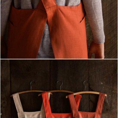 15 DIY Apron Sewing Patterns–Linen Cross Back Apron  #Sewing #Apron #Pattern