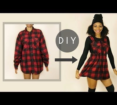 DIY Overall Dress From a Large Flannel Shirt (No Sewing)