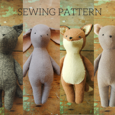 Simple PDF sewing patterns for vintage-style stuffed animal dolls, soft toys and their clothing, designed in Australia by Margeaux Davis of