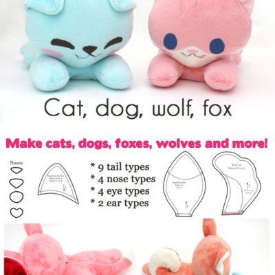 Free kawaii sewing patterns to make your own stuffed animals ~ dog cat fox and w… – #Animals #cat #Dog #Fox #Free #kawaii #Patterns