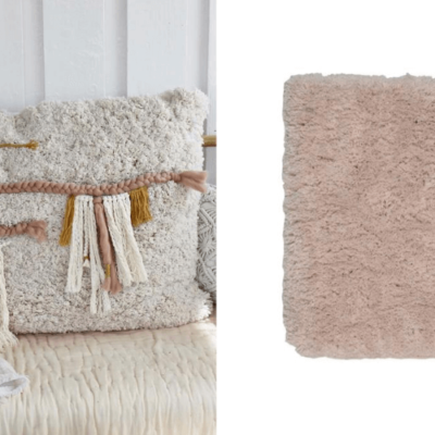 Bathroom mat to boho pillow. No sewing needed.